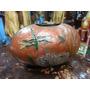Florero Antiguo Hindu En Bronce Macizo Con Porcelana