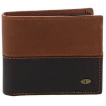 Billetera Two-tone Genuine Leather Wallet W/cross Stud Para