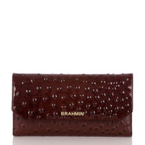 Billetera Brahmin Soft Checkbook Wallet Cordovan Burgundy If
