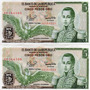 2 Billetes De 5 Pesos Colombia 01-01-1980 E10/10 Oferta