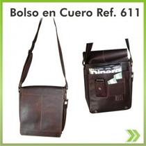 Bolso Cuero 100% Exportacion Ref 611 Unisex Maletin Carriel