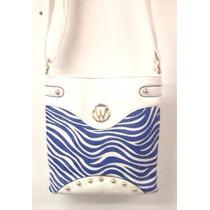 Bolso Manos Libres Lesak Carriel Cebra- Blanco Con Azul
