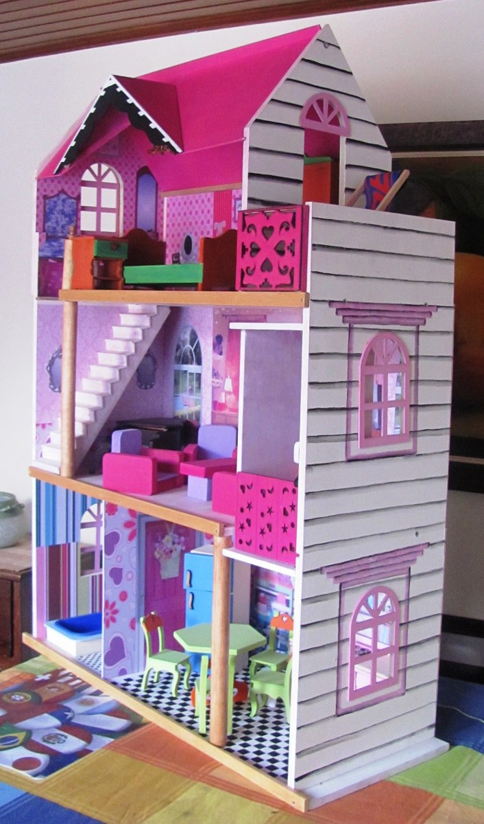 Casa munecas barbies juguetes madera tres pisos ascensor - Casa de barbie con ascensor ...