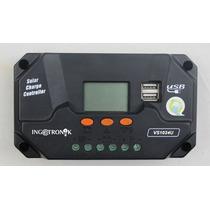 Regulador Controlador Panel Solar 10a 12v/24 Lcd Y 2 Usb