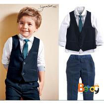 Conjunto Para Niño Con Corbata, Chaleco, Pantalon Y Camisa