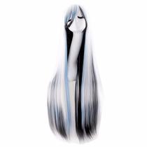 ¡peluca Cosplay Tricolor Cabello Liso 100cm Blanc Negr Azul!