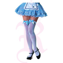 Media Bota Blanca Moño Azul Thigh High Disfraz Halloween
