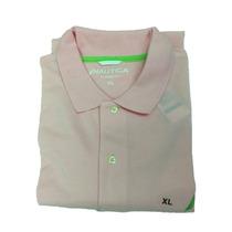 Camiseta Nautica Tipo Polo Rosado Claro