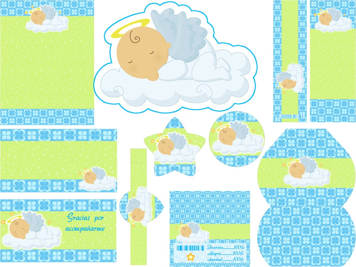 Kit Imprimible Baby Shower Cumpleanos Bautizos Angelito Nube - $ 9.900
