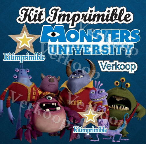 Kit Imprimible Monster University + Candy Bar Marcos Fiestas - $ 29 ...