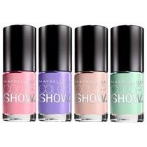 Maybelline 4 Esmaltes Color Show Pastel Rosa Lila Beig Verde