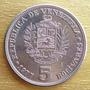 Moneda Venezuela 5 Bolivares F U E R T E 1977 Brillante