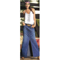 Falda Casual Azul Jean Elaborada En Chambray Stretch