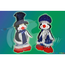 Pareja De Pinguinos Navideños Muñecos De Navidad