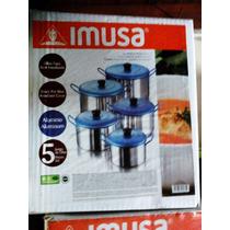 Juego De Ollas Imusa Tapa Azul Aluminio Templado