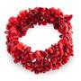 Pulsera Elástica Bling Jewelry Chips De Coral Rojo Tejido