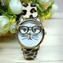 Reloj Cara Gato Con Gafas Para Mujer Con Pulsera En Cuero Pu