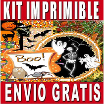 Kit Imprimible Halloween Diseña Invitaciones Y Tarjetas