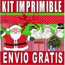Kit Imprimible Feliz Navidad Diseña Invitaciones Y Tarjetas