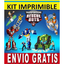 Kit Imprimible Transformers Rescue Bots Para Invitaciones