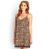 Vestido Forever 21 Bata Animal Print Waa17 Marron