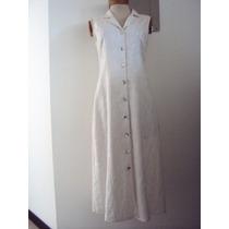 Vestido Blanco En Lino Bordado