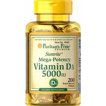 Vitamina D3 5000 Ui, 200 Capsulas, Puritans Pride