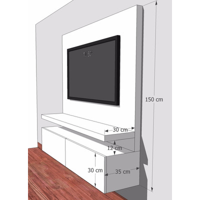 Mueble para tv flotante en madera lacada ref mural18 for Muebles para television de madera modernos