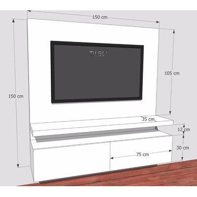 Mueble para tv flotante en madera lacada ref mural18 muebles coffee - Muebles tv leroy merlin ...