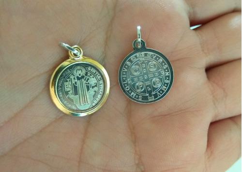 Medalla San Benito En Plata 925 Con Oro