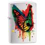 ¡ Zippo Stamp Butterfly Lighter 29392 Brushed Chrome !!