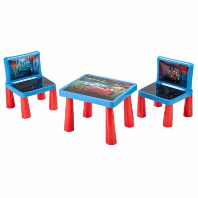 Set Juego Mesa Infantil 2 Sillas Plasticas Cars Juguetes Y Deportes