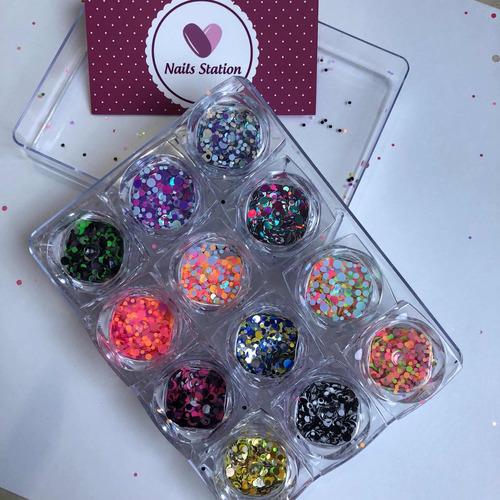 Caja De Glitter Para Uñas X 12uds